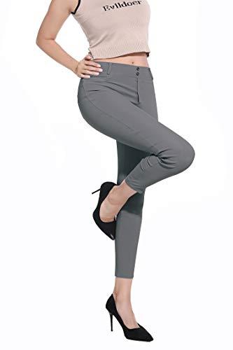 Dreamsy Womens Skinny Leggings Sport Yoga Pants Hohe Taillenhose mit Taschen Stretchy Jeans Jeggings, Grau L