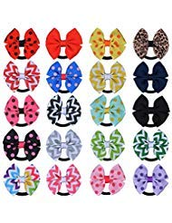 30 PCS Baby Tiny Hair Bows with Elastic Loop Ponytail Ties Pony Tail Holder Accessories for Infants Toddlers Girls Kids