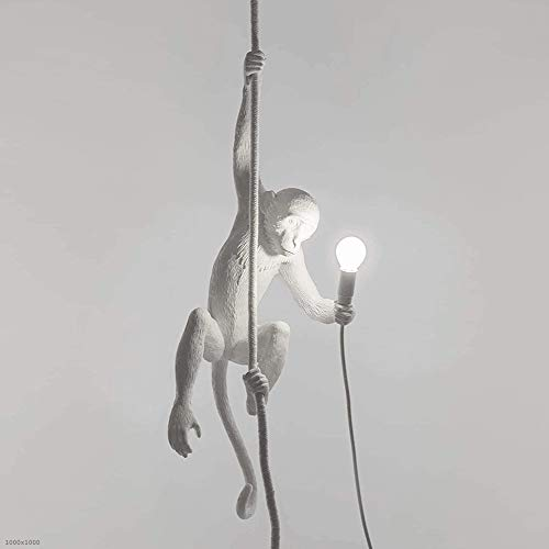 BETTY Statue Monkey Lamp with Rope - Plafoniera - con Plafoniera Monkey Plafoniera, Acrilico Monkey Hemp Rope LED Chandelier, Restaurant Bedroom Studio Adatto