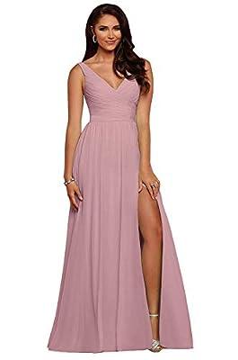 yinyyinhs Slit Bridesmaid Dresses Long V Neck Chiffon Pleated Evening Prom Dress Dusty Rose Size 12