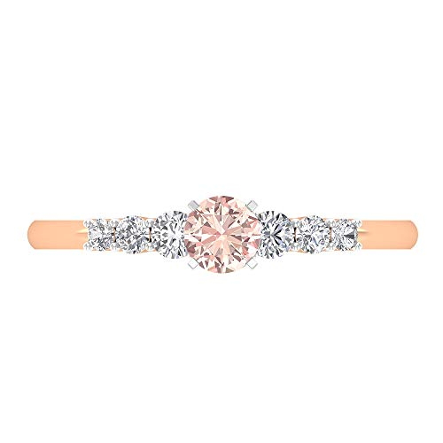 4 MM Lab Created Morganite Ring, 1/4 CT Diamond Engagement Ring, Solitaire Ring with Side Stones, Gold Ring for Women, 14K Rose Gold, Size:UK G1/2