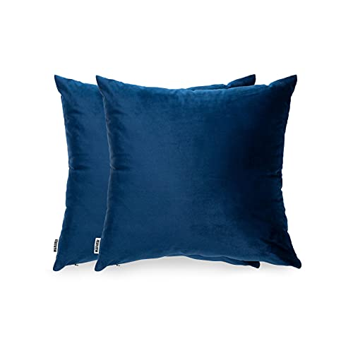 MARARDI Pack de 2 Fundas de Cojines de Terciopelo Suave [Color Azul Marino]...