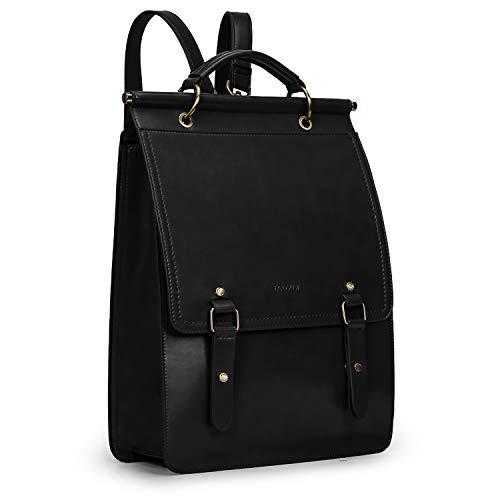 ECOSUSI Daypack Damen Rucksackhandtasche Schulrucksack Mädchen Leder Laptop Rucksack für 14,7 Zoll Anti Diebstahl mit Laptopfach Wasserabweisend Schwarz