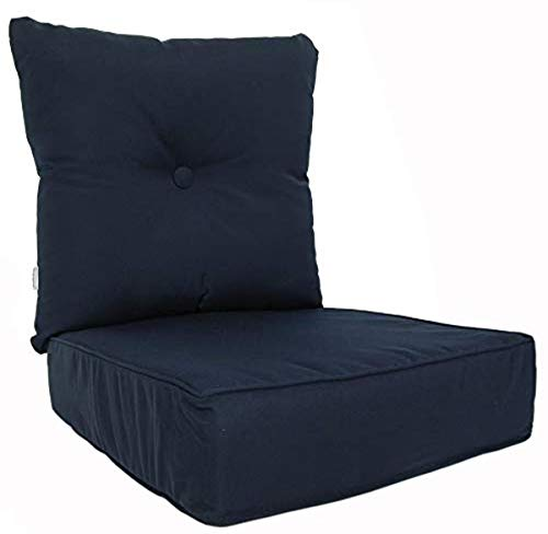 RULU 02180 Patio Cushion Outdoor/Indoor Sunbrella, Seat 22.5 x 22.5 x 5.75 inch + Back 23 x 23 x 7 inch, Canvas Navy