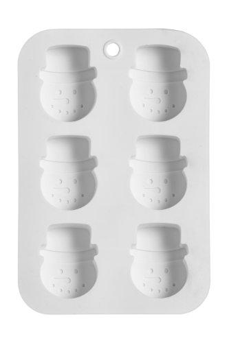 Premier Housewares Plaque à gâteaux en forme de bonhomme de neige 6 moules Silicone anti-adhésif Blanc 3 x 18 x 26 cm