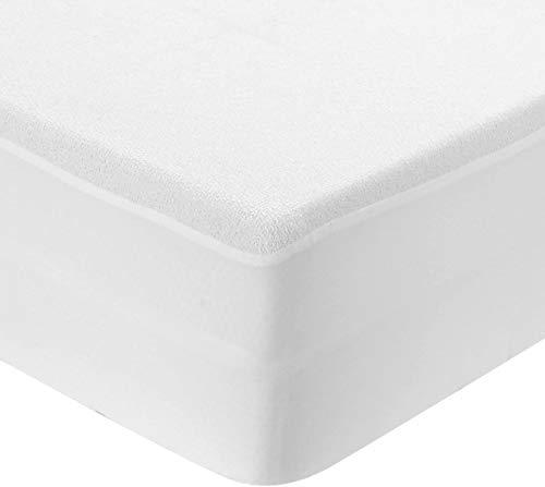 Basic Hime Protection de matelas, imperméable, 160 x 200 cm, antibactérien, blanc, de coton éponge, bord élastique
