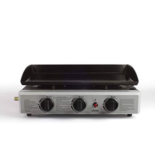 Domoclip DOC105 Grill da Tavolo Gas 7500W Nero, Acciaio Inossidabile Barbecue e bistecchiera