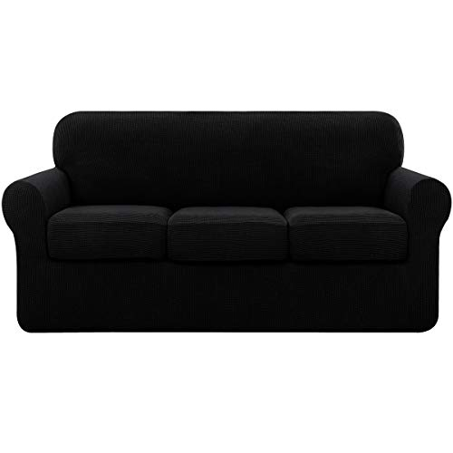 subrtex High Stretch Jacquard Slipcover with 3 Separate Cushion Common Couch Sofa Cover Coat for 3-Seater Conventional Settee Spandex Washable Furniture Protector (Large, Black)