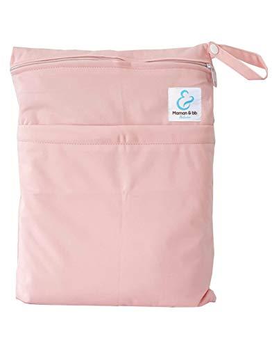 Maman et bb Nature - Sac imperméable pour couches lavables 2 poches anse à pression - Rose clair