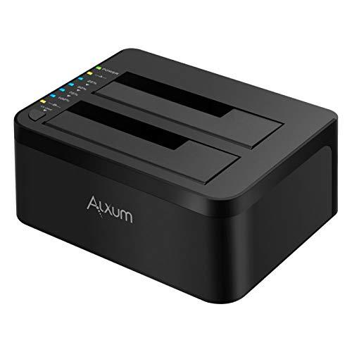 Alxum Dockingstationen USB 3.0 Festplatten Docking Station Offline Klonfunktion für 2,5 Zoll & 3,5 Zoll HDD SSD SATA, Unterstützt TF & SD Karte