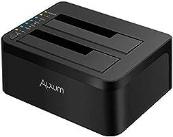 Alxum Stacja dokująca USB 3.0 do SATA Dual Bay z funkcją klonowania offline dla 2,5 cala i 3,5 cala SATA HDD SSD (SATA...