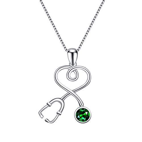 AOBOCO Sterling Silver Stethoscope Necklace Doctor Nurse Jewelry with Simulated Emerald Birthstone Austria Crystal, Medical Student Graduation Birthday RN Registered Nurse Gifts for Women(Green)