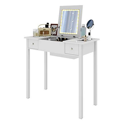 WOLTU Schminktisch Kosmetiktisch mit LED Beleuchtung, 2 Schubladen und Schmuckfach, Spiegel klappbar, Schreibtisch Schminkkommode 80x40x75cm Weiß, MB6040ws