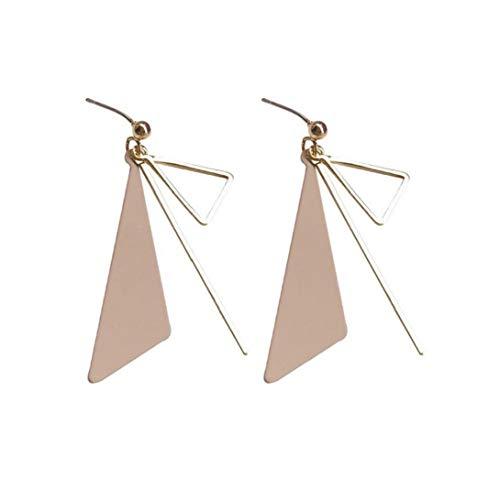 Cuelga los Pendientes Pendientes geométrica Triangular Anillo Hueco Triangular Borla Palo Largo Pendientes para el Presente día de señora Girls Regalos de cumpleaños Rosada 1Pair de San Valentín