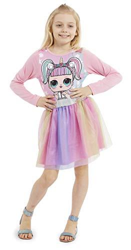L.O.L. Überraschung! Mädchen-Kleider, Prinzessinnen-Kleid für Mädchen, Kostüm mit LOL-Puppen-Einhorn, Regenbogen-Tutu-Einhorn-Kleid (4-5 Jahre)