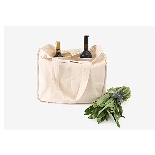 Dapang Sac en Toile de Coton, Mêle Sac à provisions réutilisable, Sac Layered Double-épaule, Sac Biodégradable Protection de l'environnement Pliable (3 pièces)