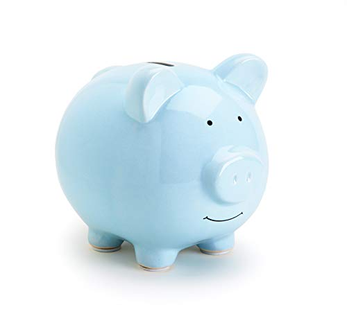 Pearhead Ceramic Piggy Bank, Baby Shower Gift, Holiday Christmas Gift, Nursery Décor, Savings Toy Bank for Kids, Blue