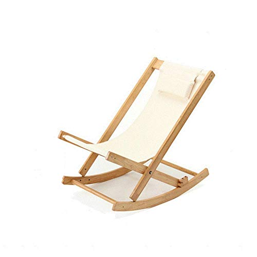Home Recliner Rocking Chair Solid Wood Beach Chair Lazy Leisure Chair Single Recliner Camping Chair for Camping Fishing Outdoor Travel