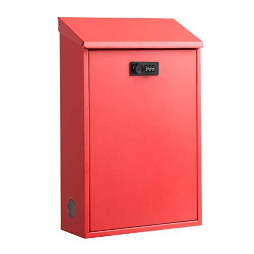 メールボックス ポスト 大型 郵便受け ロック付き スチール樹脂塗装 ホワイト ブラック POST おしゃれ 壁掛け 宅配ボックス (レッド)