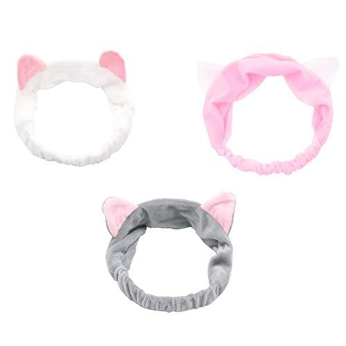 ZoWe 3pcs Haarband, süß Stirnband, Haarschmuck Haarreifen mit Katze Ohr für Damen Mädchen Gesichtswäsche Make up