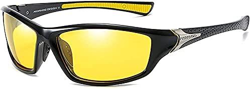 Mantimes Gafas de sol para hombre Deportes Ciclismo Running Rectangular mujeres polarizadas Gafas de sol para hombre Conducción golf béisbol gafas de espejo (amarillo luz de día)