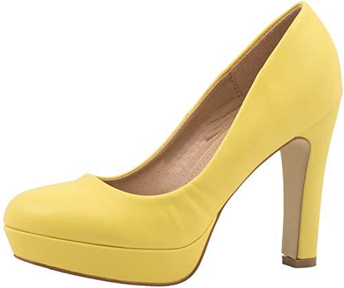 Elara Jumex Tacchi Alti da Donna Plateau Chunkyrayan Giallo E22321-Yellow-38