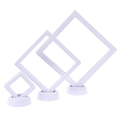 Uoeo 3 Packs Coin Display Box with Stands, Floating 3D Display Frame Kit for Coins Jewelry Medallions Stones, AA Medallions, White (3 Size)