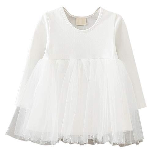 LYXIOF Baby Girls Toddler Tutu Dress Long Sleeve Princess Dress Infant Tulle Dress 2-White 2 Years