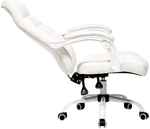 Goquik Executive bureaustoel met hoge rugleuning, kunstleer, grote bureaustoel, Ergonomisch ontwerp, verstelbare zithoogte, synchroonkantelmechanisme, 360 graden draaibaar wit 61 * 64 * 107cm