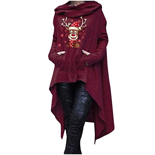 SUIQU Sweater Hoodies for Women Plus Size Hoodie Irregular Hem Sweatshirt Pullover Dresses Loose Pocket Solid Hood Tops