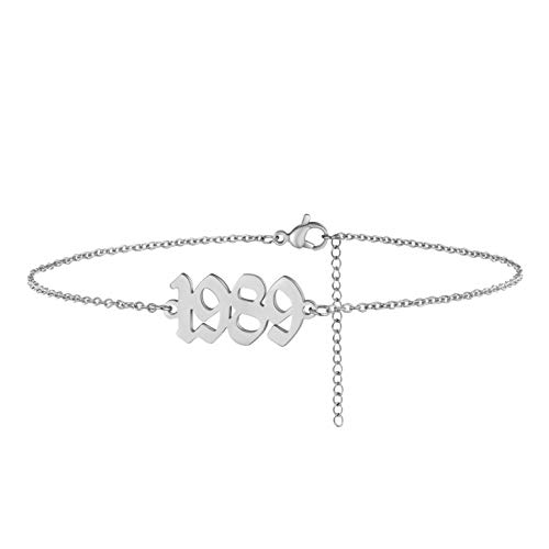 VLINRAS Birth Year Anklet - Gold & Silver Birth Date Ankle Bracelets for Women, Adjustable Dainty Beach Foot Jewelry Anniversary Birthday Gift silver