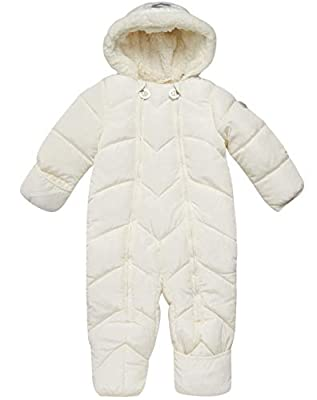 DKNY Baby Girls Cozy Puffer Fully Sherpa Fur Lined Snowsuit Pram with Fur Trim Hood, Size 3-6 Months, Black'