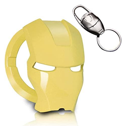 Iron Man Cubierta del Botón de Arranque/Parada del Motor, Botón de Arranque, Cubierta de Encendido, Anillo, Aleación, Interruptor de Motor de Coche Antirrayas, Personaje de Anime 3d (Amarillo)