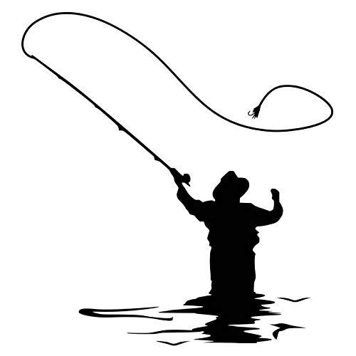 Angeln Aufkleber Auto Aufkleber Schädel Fisch Ernte Aufkleber Angelausrüstung Shop Poster Wandaufkleber Angelrute Wohnzimmer Dekoration Wandaufkleber 58x62cm