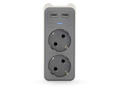 Unbekannt Caliber Audio Technology HPS1202U Zwischensteckdose mit USB 2polig Weiß, Grau