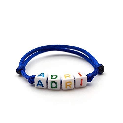 Pulsera ADRI para personalizar: nombre, texto, mensaje, logo, talla, color perla y cordón de su elección; brazalete designado para niños adultos; letras del alfabeto de joyería personalizada A-Z