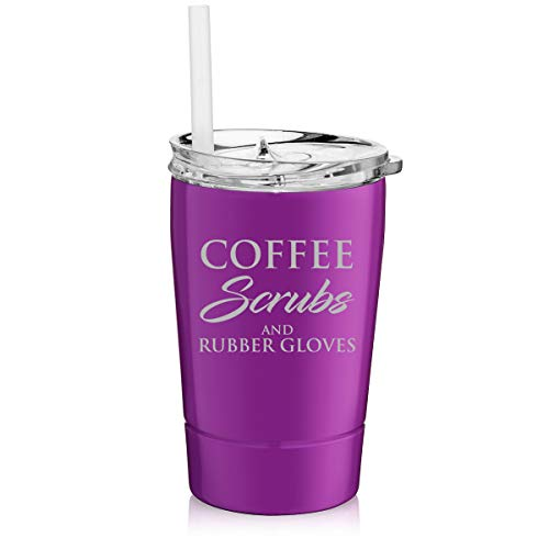 12 oz Tumbler Double Wall Stainless Steel Vacuum Insulated Coffee Travel Mug With Straw Coffee Scrubs And Rubber Gloves Nurse Doctor Dentist Dental Assistant Therapist (Purple)
