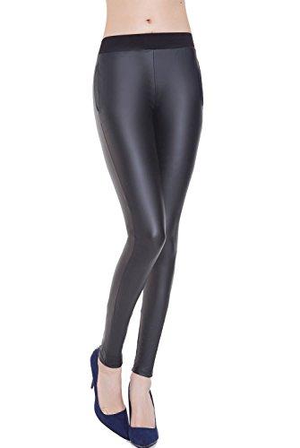 Everbellus Mujeres Sexy Leggins Cuero Negro Elásticos Pantalones con Bolsillo