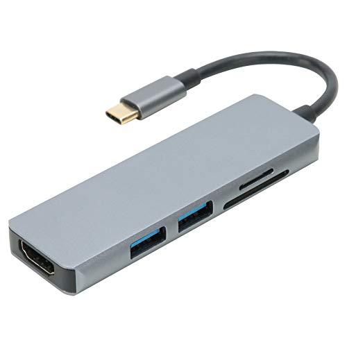 FECAMOS Base de conexión para computadora portátil USB C, YSTC0803X Adaptador multipuerto de concentrador 5 en 1, con 2 Puertos USB 3.0, USB C a HDMI 4K, Puerto de Lector de Tarjetas SD/TF