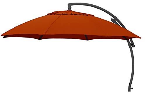 Sombrilla de jardín de elGiga, redonda, de aluminio, 100 % olefina (aprox. 190 g/m²), apertura giratoria 360°, con manivela (antracita/terracota B063)