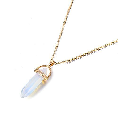 CTDMMJ Halsketten Anhänger Sechseckige Spalte Quarz Naturstein Kugel Rosa Kristall Anhänger Halskette Für Frauen Schmuck-Goldopal