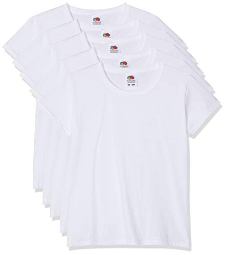 5 Fruit of the loom Kinder T-Shirts Valueweight 104 116 128 140 152 Diverse Farbsets auswählbar 100% Baumwolle (140, Weiss)
