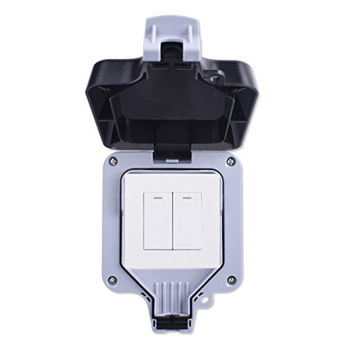 Interruptor de pared al aire libre impermeable a prueba de intemperie IP66 2 GAND 1 forma de encendido/apagado del interruptor de luz (Color : White, Number of Gangs : 2 Gang)