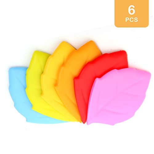 TOOL GADGET Leaf Silicone Cup Pocket Water Cup for Traveling Toothbrush Holder/Cover/Cap Bathroom Tumblers 6PCS
