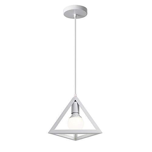 Vetrineinrete® Lampadario da soffitto pendente a sospensione a forma di triangolo 3d stile geometrico portalampada e27 (Bianco)