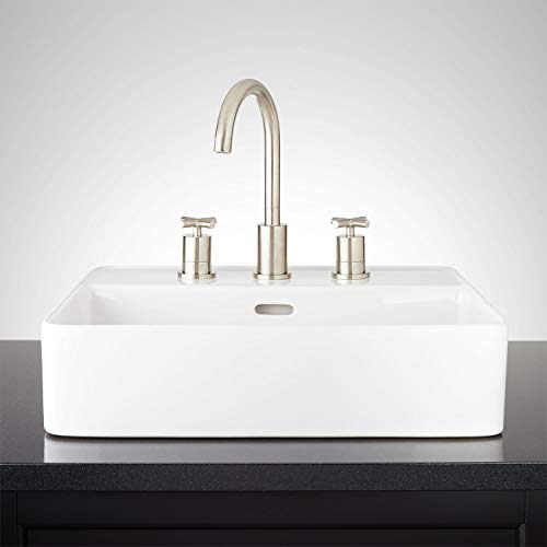 Signature Hardware 948626-8 Hibiscus 20' Fireclay Vessel Bathroom Sink with 3 Faucet Holes at 8' Centers