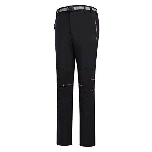emansmoer Femme Coupe-Vent Doublé Polaire Pantalon Softshell Imperméable Outdoor Sport Randonnée Escalade Pantalon (Large, Noir)