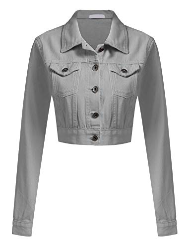 Womens Button Down Long Sleeve Cropped Grey Denim Jean Jacket