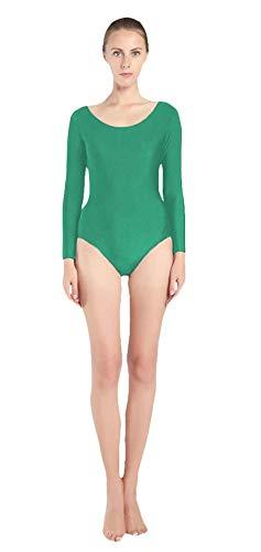 SK Studio Mujer Maillot de Danza Ballet Gimnasia Leotardo Body Clásico Elástico de Manga Larga Cuello Redondo Traje de Rendimiento de Etapa Verde M