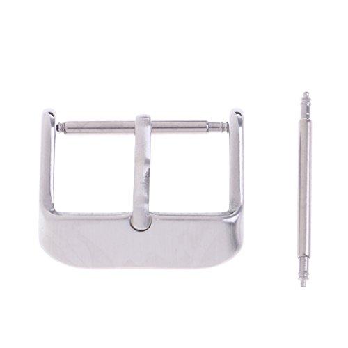 P Prettyia Silberne Uhrenarmbänder Bänder Edelstahl Schnalle Uhr Verschluss Dornschließe aus Edelstahl - Silber 14mm